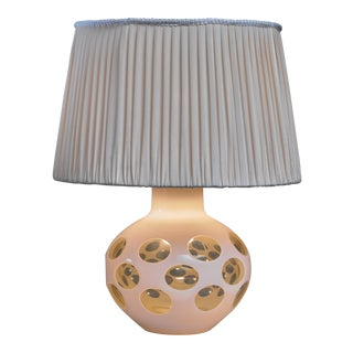 Carlo Nason glass table lamp for Mazzega in pale yellow, Italy, 1970s