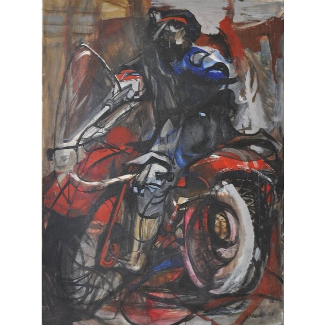 Vintage Motorcyclist Painting C.1950's - Image 1 of 4