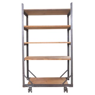 Industrial Five-Tier Wood and Metal Shelving Cart / Storage Unit