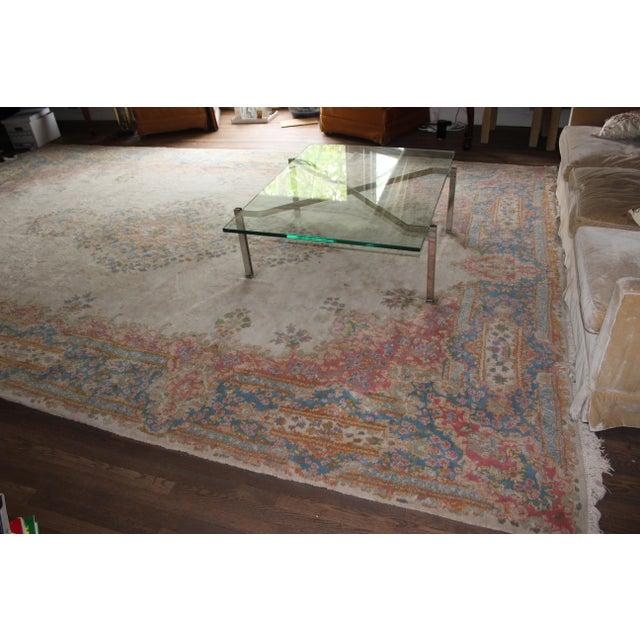 Traditional Center-Medallion Kerman Persian Wool Rug