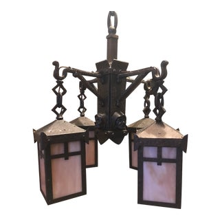 Antique 4 Light Bradley and Hubbard Mission Monk Chandelier