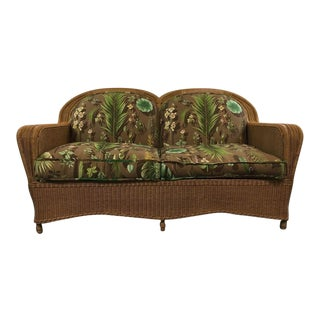 Vintage Wicker Upholstered Sofa