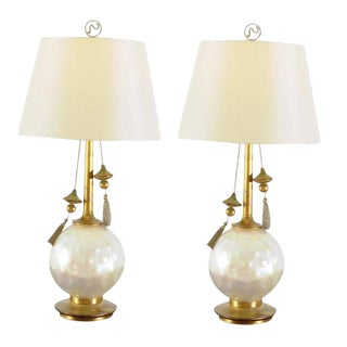 Rare Pair of Blown Glass and Giltwood Pearl Lamps by Frederick Cooper