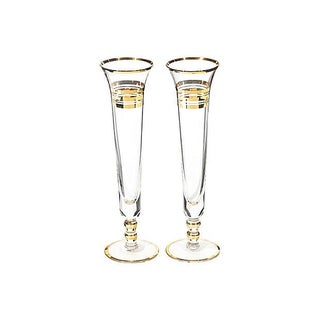 Gold Banded Bud Vases - A Pair