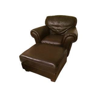 Natuzzi Italsofa Leather Chair and Ottoman Set
