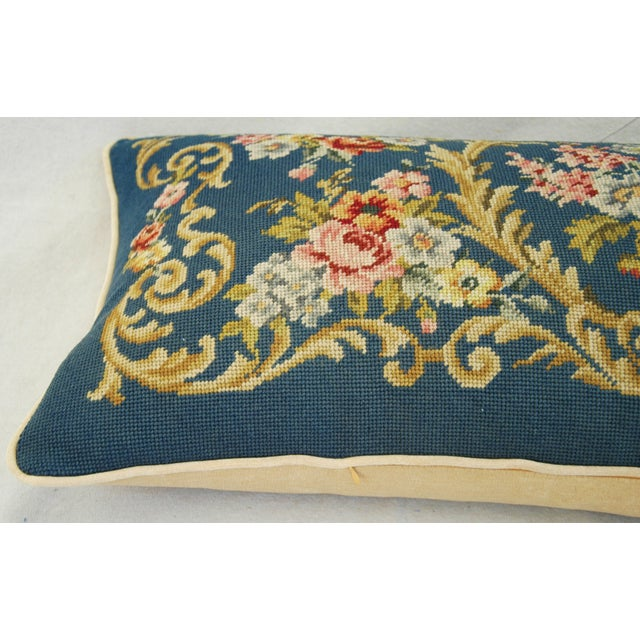 Custom 19th-C. French Needlepoint Floral Pillow - Image 6 of 11