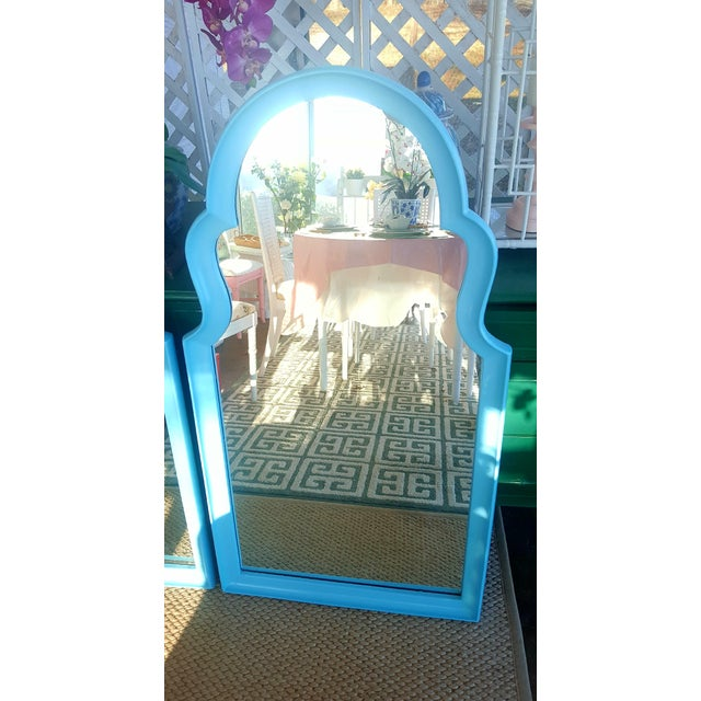 Set of 2- Vintage Moroccan Style Turqouise Blue Mirrors - Image 5 of 10