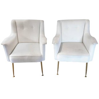 Italian Mid-Century Modern Lounge Club Chairs - a Pair