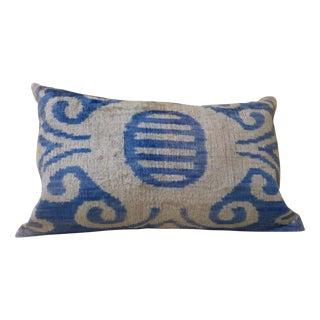 Blue And Cream Silk Velvet Pillow