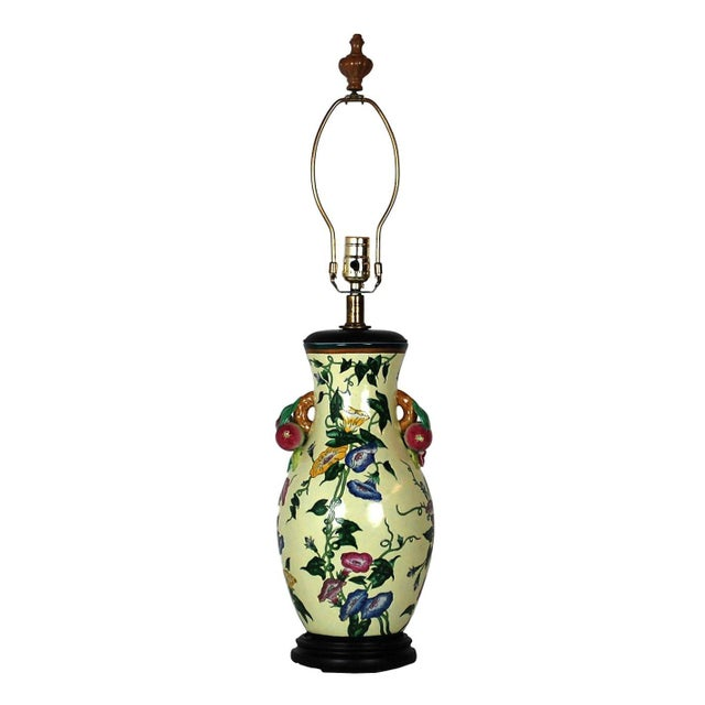 Image of Traditional Floral Pottery Lamp with Fruit Handles
