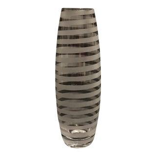 Mid-Century Modern Spiral Etched Fine Glass Bud Vase