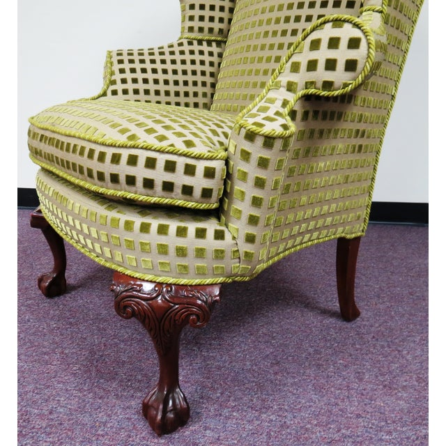 Chippendale Queen Anne Wing Chair with Carved Legs - Image 4 of 7