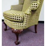 Image of Chippendale Queen Anne Wing Chair with Carved Legs