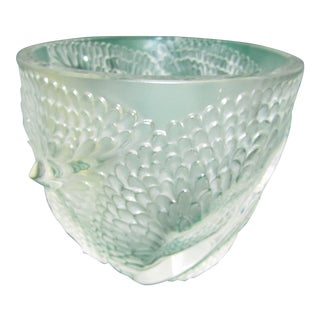 Lalique Feather French Crystal Bowl Vase