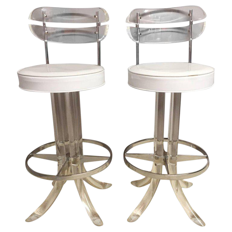 Glamorous Lucite Chrome and Patent Leather Bar Stools -- A Pair  sc 1 st  Chairish & Vintage u0026 Used Bar Stools | Chairish islam-shia.org