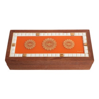 Georges Briard Mosaic Valet Box in Tangerine Orange