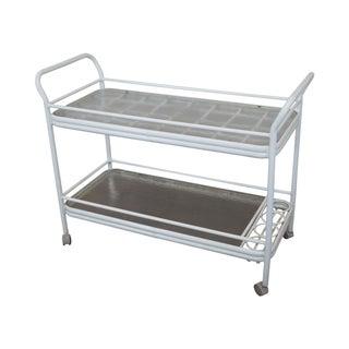 Mid-Century Aluminum & Glass Top Patio Bar Cart