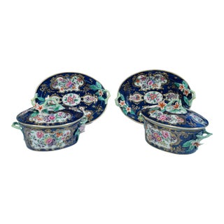 First Period Worcester Porcelain Mazarine Blue-ground Botanical Sauce Tureens, Covers & Stands