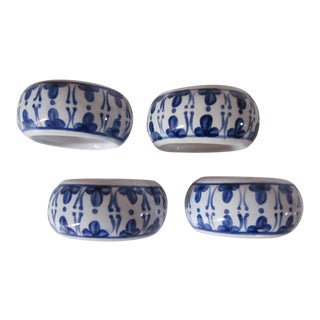 Blue & White Napkin Rings- 4 Pieces