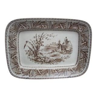 English Brown & White Transfer Platter