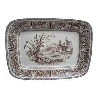 English Brown & White Transfer Platter