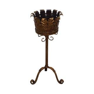Vintage Italian Gilt Metal Gold Leaf Pedestal Plant Stand
