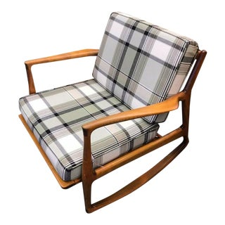 Mid-Century Gingham Rocking Chair