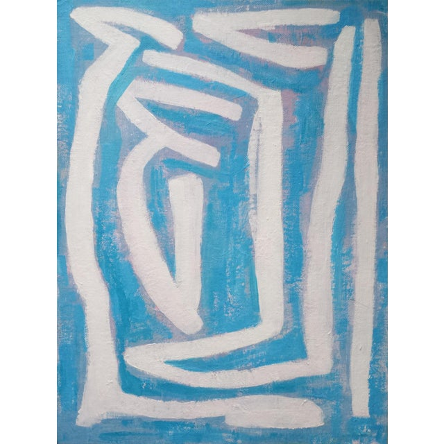 """Susie Kate """"Abstract on Blue"""" Original Painting - Image 1 of 4"""