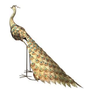Large Hollywood Regency Gold Metal Peacock Statue