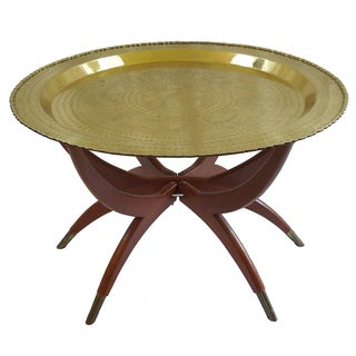 Mid-Century Moroccan Style Brass Tray Table