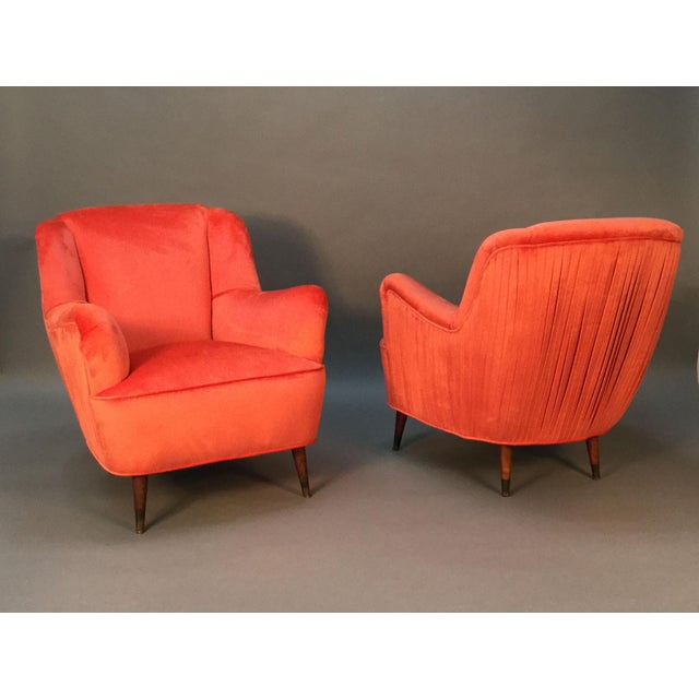 Mid Century Club Chairs With Velvet Pleat - Pair - Image 2 of 9
