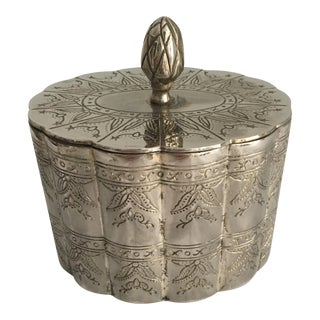 Silver Carved Scalloped Box With Lid