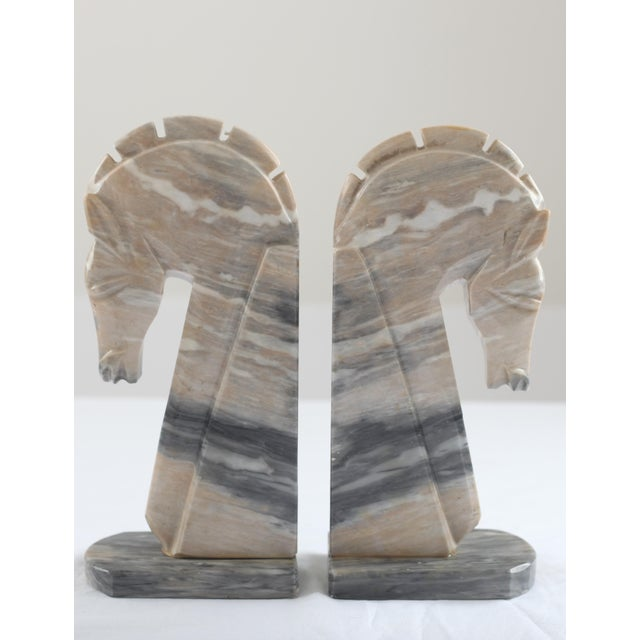 Mid-Century Onyx Horse Head Bookends - Pair - Image 2 of 7