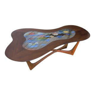 Reverse Painted Glass Biomorphic Table