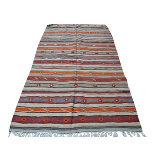 Turkish Vintage Kilim Rug - 4′5″ × 8′2″
