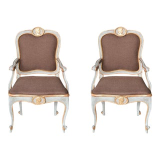 Pair of Italian Late Rococo Blue Painted, Parcel-Gilt Armchair