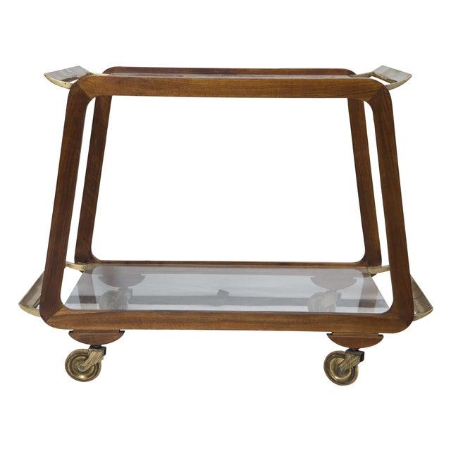 Mid-Century Austrian Walnut and Brass Bar Cart - Image 1 of 7