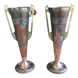 Set of 2 Antique Art Nouveau Copper and Brass English Metalware Vases