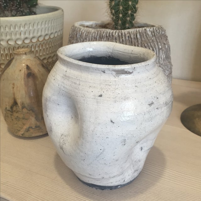 Vintage White Raku Pot Planter - Image 2 of 7