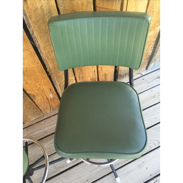 Mid-Century Bar Stools in Jade - A Pair - Image 11 of 11