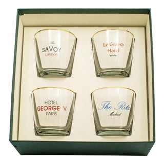 "Boxed ""Hotels of Europe"" Double Old Fashioned Glasses - Set of 4"
