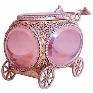 Gold Ormolu Filigree Carriage Jewerly Box
