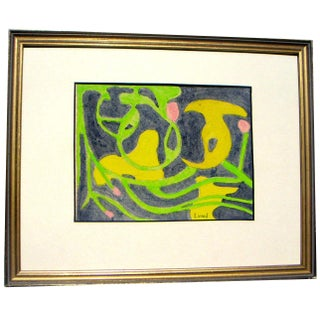 Vintage Biomorphic Abstract Painting