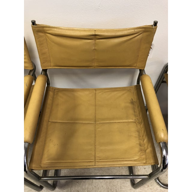 Mustard Leather Arm Chairs - Set of 4 - Image 7 of 7