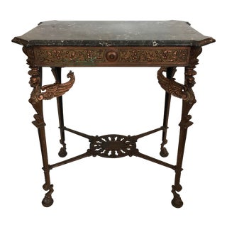 Marble Top Bronzed Finish Griffin Table