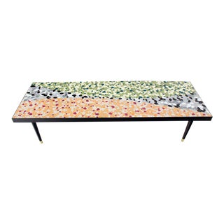 Mid-Century Modern Art Mosaic-Top Long Rectangular Table