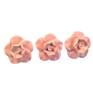 Ceramic Pink Rose Knobs - Set of 3