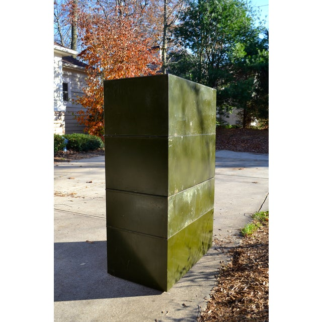 Vintage Industrial Green Metal Two Door Cabinet - Image 9 of 9