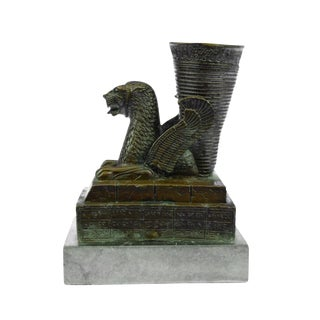 Persian Sasanian Dynasty Dragon Peacock Bronze & Marble Sculpture