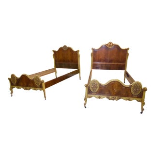 Vintage French Provincial Rococo Ornately Carved Gold Twin Headboard Beds - a Pair